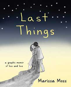 An illustrated cover with a black sky with stars fades down the cover to a line drawing of a couple kissing. A wide pencil smudge starts at the couple's arms and covers the bottom quarter of the cover.