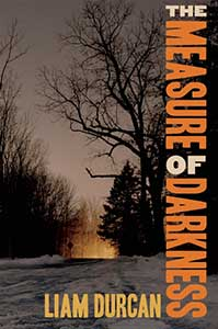 The Measure of Darkness book cover shows a winter scene. There is snow on the ground with dark trees empty of leaves. A large fire is on the ground and smoke lights up the sky.