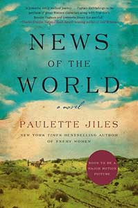 The book cover for News of the World  looks like an old-timey painting of a blue sky with white clouds and a green hill.