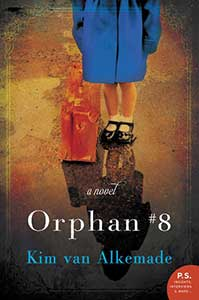 The book cover for Orphan #8 shows the lower half of a girl wearing a blue coat down to her knees, white lace socks, and Mary Jane shoes. On the ground next to her is a battered brown suitcase.