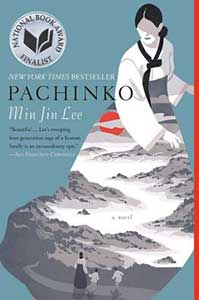 The outline of a woman takes up most of the book cover for Pachinko. The upper half of her body has some detail that show pulled back hair and a dress with wide sleeves. The skirt of the dress shows multiple mountains and a woman and two children walking on a path.