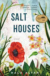 The book cover for Salt Houses shows a glimpse of blue sky over big flowers and leaves.