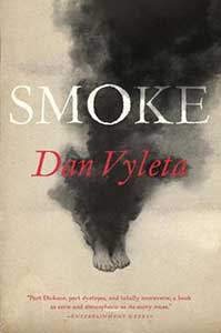 The book cover for Smoke has a large black cloud of smoke covering most of the book and two feet are visible at the bottom of the smoke.
