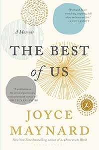 The book cover for The Best of Us: A Memoir has an off-white background with five circles of varying shapes, sizes, and designs spread over the cover.