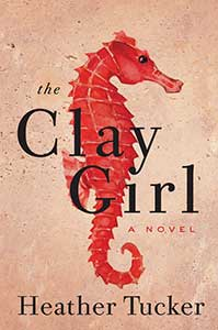 The book cover for the Clay Girl shows a red seahorse in profile.