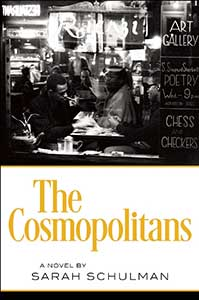 The book cover for the Cosmopolitans has a black and white photograph for the top half and a solid white section below it. The photograph shows people in a busy cafe in New York City.