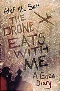 Varying shades of brown cover the sky, which is most of the book cover for The Drone Eats with me. In the sky is a drone. In the bottom left corner, you see a man and a child in outline looking at the sky.