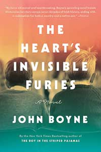 The book cover for the Heart's Invisible Furies shows the backs of two young boys. The image is in black and white and both boys have a white shirt collar peaking over sweaters.