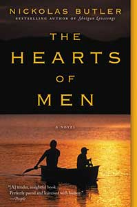 The Hearts of Men book cover has the top half of the background is black and the bottom half is is water at sunset, so it is shades of gold, with two people rowing a boat on it.