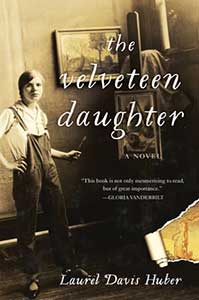 The book cover for The Velveteen Daughter is a sepia-toned photograph of Pamela Bianco as a young teenager wearing overalls and holding a paint brush standing in front of an easel with a painting on it. The bottom right corner of the photo has a tear in it.