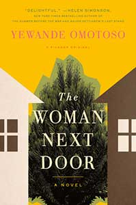 The book cover for The Woman Next Door shows parts of two houses next door to each other with a green fir tree in between them.