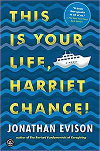 The book cover for This is Your Life, Harriet Chance is blue with squiggles to make it look like waves. There is a small white ship in the waves.