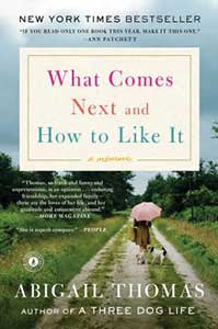 The book cover for What Comes Next and How to Like It shows a cloudy sky, green grass and trees, and a woman wearing a long coat and holding a pink umbrella walking down a dirt path with a dog beside her.