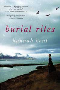 The book cover for Burial Rites has a dark, cloudy sky with three birds flying. A woman stands on a cliff looking out over a body of water.