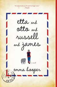 The book cover for Etta and Otto and Russell and James looks like an old envelope. It is an aged yellow with a rectangle made out of alternating blue and red lines in the center. In the rectangle shows the back of a woman walking with a dog next to her. A hand stamp is in the bottom left corner.