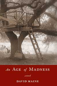 The book cover for An Age of Madness is mostly black and white with an image of a treehouse.
