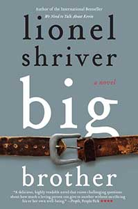 A gray background emphasizes the brown belt with large silver buckle that spans the width of the Big Brother book cover about a third of the way from the bottom.