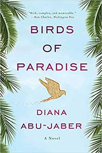 The book cover for Birds of Paradise, a 2011 Great Group Reads, shows a blue sky with a palm fronds on the left and right sides. A gold bird flies in the center.