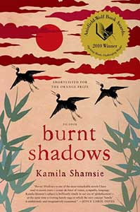 The book cover for Burnt Shadows shows three cranes flying a pink sky that has red clouds and a red sun.