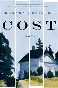 The book cover for Cost shows a white house. It looks as if the image has been cut in four long strips and put back together slightly askew.