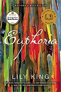 The book cover for Euphoria has many vertical paintbrush strokes in a variety of colors.