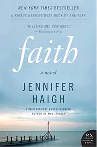 The book cover for Faith shows mostly a sky with blue-gray clouds that fade into a sunrise of pastel pinks and orange over a body of water with a deck going out into the water.
