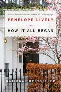 The book cover for How It All Began shows the front door of a house behind a wrought iron fence with a tree with pink blossoms in the small front yard.