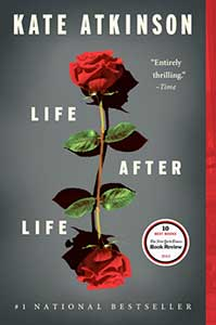 The book cover for Life After Life has a dark gray background with a beautiful red rose in the center. The rose has one stem with leaves but a blossom at each end, which creates a mirror effect.