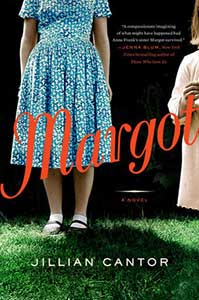 The book cover for Margot shows a teenage girl from the shoulders down wearing a blue and white dress, white socks, and Mary Janes. At the edge of the cover, a younger girl's hair and right side of her body are seen. She is wearing a pinkish dress.