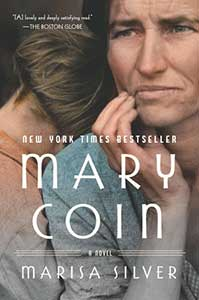 The book cover for Mary Coin shows an image of a woman with a furrowed brow and slightly weathered face has a child resting its head on her shoulder.