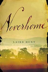 The book cover for Neverhome has a yellowed piece of paper curling at the edges. A muted pastoral scene with trees takes up the lower third of the page.