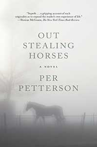 The book cover for Out Stealing Horses shows a horse behind a fence, both of which are blurred by fog.