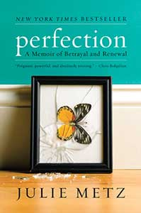 The book cover for Perfection shows a picture of a monarch butterfly. The frame is on its side and the glass is broken.