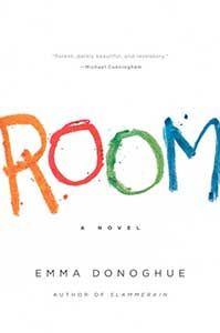 The book cover for Room is white with the title written in capitals in a child's handwriting with each letter a different color.
