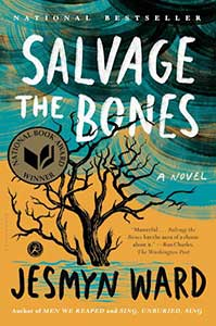 The books cover for Salvage the Bones has a tree with lots of branches and no leaves on it. Water is surrounding the tree. The sky is a stormy blue and black.