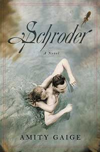 On the book cover of Schroder, a white man is standing chest-high in water with a young, white girl hanging onto his back.