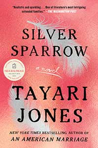 The book cover for Silver Sparrow shows two silver feathers floating.