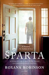 On the book cover for Sparta, the inside of a house is shown with hardwood floors and an open front door. Through the screen door, we see the back of a white man standing and looking out. He's wearing a camouflage T-shirt.