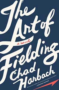 The book cover for The Art of Fielding has a dark blue cover. The title  and author's name take up the whole cover.
