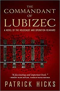 The book cover for the Commandant of Lubizec has a dark red background with part of a train track in the center.