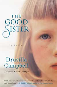 The book cover for The Good Sister shows the right half of a girl's face.