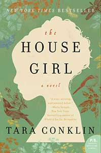 The book cover for The House Girl has a a background that looks like green wallpaper with flowers and birds on it. In the center of the cover is a cutout that looks like an ivory cameo. It shows a girl in profile with her hair in an up-do.