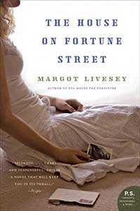 The book cover for The House on Fortune Street shows the profile of a woman sitting on the floor. She is wearing a wedding dress and holding a photo. An opened envelope is on the floor beside her.