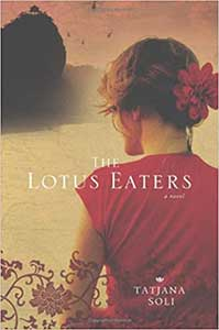 The book cover for the Lotus Eaters shows a woman's back. Her hair is up with a flower in it. She is wearing red.