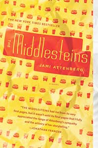 The book cover for The Middlesteins has a yellow background with repeating rows of small images of fast food such as burgers, soft drinks, and fries.