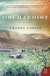 The book cover for The Orchardist looks like a painting. There is a blue and orange and yellow sky with white clouds over a mountain area and flat land that has several buildings spread out. In the foreground are trees from an orchard.