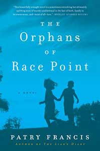 An evening blue sky takes up most of the book cover for the Orphans of Race Point. On the bottom half is the silhouette of two children running.