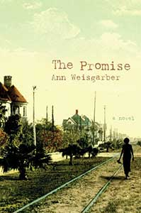 The book cover for The Promise has an old time feel. There is a person walking next to what are probably cable car tracks on a street lined with trees and houses.