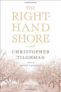 The book cover for The Right-Hand Shore shows an orchard in winter.