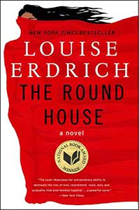 One the book cover for The Round House, is a person whose forehead and long, black hair is visible. The rest of the body is wrapped in what looks like a red shroud that covers the majority of the cover.